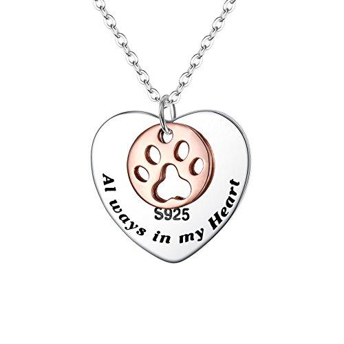 FANZE Mujer 925 Plata Esterlina-Always in My Heart-Pata Amor Corazón Colgante Charme Collar a Chicas, Rolo Cadena 19'