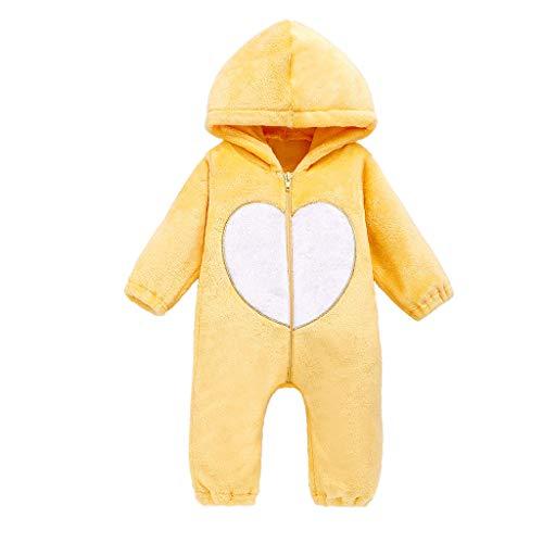 Newborn Infant Baby Girls Boys Cute Warm Fleece Hooded Romper Jumpsuit Outfits for Winter