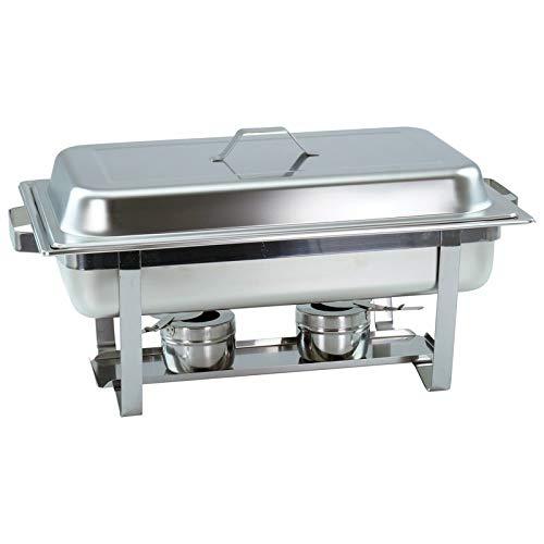 1 set de chafing dish avec récipient 1/1 GN, 65 mm de profondeur, chauffe-plats empilable avec poignées carrées.