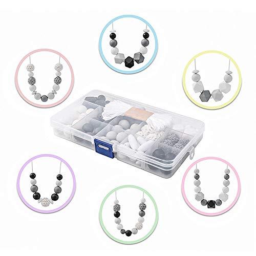 I LOVE MOM - Diy Baby Beißring Silikon Perlen Kit,Baby Spielzeug Zahnen Beißring Halskette,Handwerk Silikonperlen Schnullerkette Selber Machen (Pastellgrau)