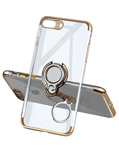 iPhone 7 Plus Case 8 Plus Case,Yoopake Phone Cover Clear Slim Ultra Thin Case 360 Rotating Ring Grip Holder Stand Magnetic for Car Mount Shock Absorption Bumper Case for iPhone 7 Plus 8 Plus-Gold