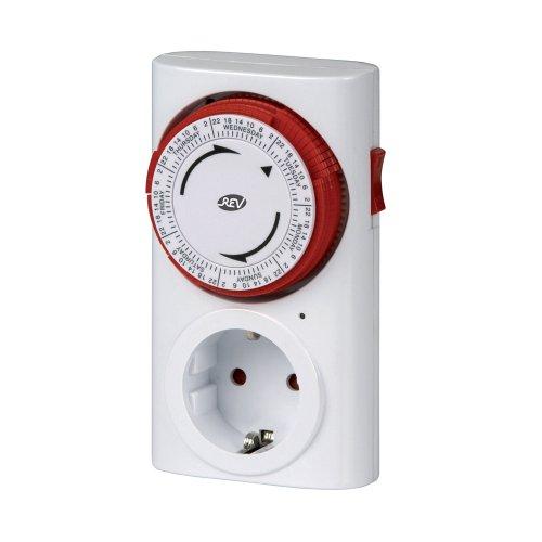 REV ZEITSCHALTUHR STECKDOSE Premium | mechanische Schaltsteckdose mit 12 Schaltzeiten pro Tag 84 Schaltzeiten pro Woche | für den Innenbereich | Kinderschutz | Farbe: weiß-rot