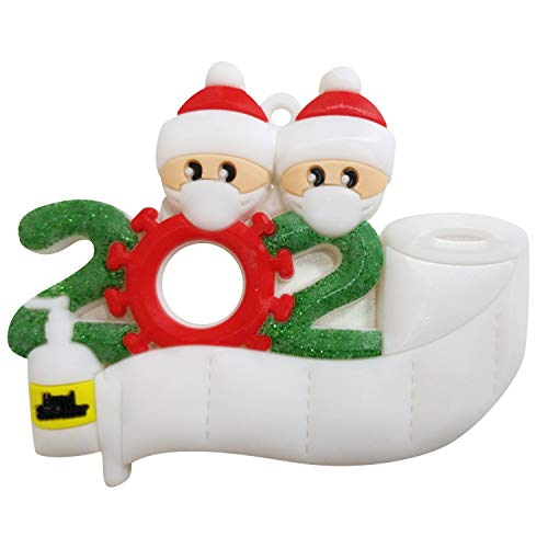 N / A 2020 Christmas Ornament Kit Personalized 2-6 Family Name with Cute Mask Babies on Toilet Paper, Creative for Decorating …