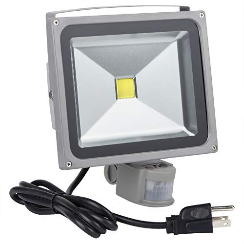 Motion Sensor Floodlight Outdoor, 30W PIR Induction LED Lamp, IP65 Waterproof Spotlight, 6500K 2400LM LED Sensor Light,250W Bulb Equivalent Security Light with US 3-Plug(Daylight White)