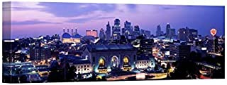 Easy Art Prints Panoramic Images's 'Union Station at Sunset with City Skyline in Background, Kansas City, Missouri, USA' Premium Canvas Art - 36