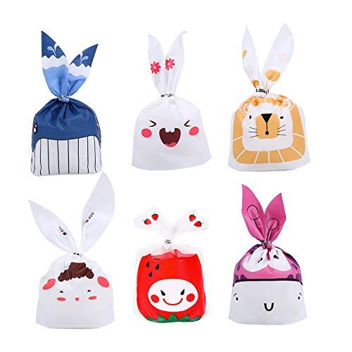 Ulikey 60 Pcs Bolsas Regalo Cumpleaños, Pascua Bolsa de Caramero Bolsa de Dulces Bolsas Plástico para Caramelos, Confeti Forma de Conejo para Boda, Cumpleaños, Navidad