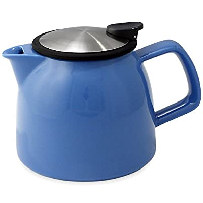 FORLIFE Bell Ceramic Teapot with Basket Infuser 26-Ounce/770ml, Blue