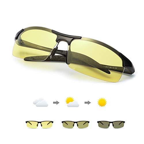 TJUTR Fotocromaticas Gafas de Sol para Conducción Nocturna Polarizadas Hombre, Marco de Metal Anti Reflectante Gafas Nocturna - 100% Protección UVA UVB (Negro(deportivas)/Amarillo Photochromic)