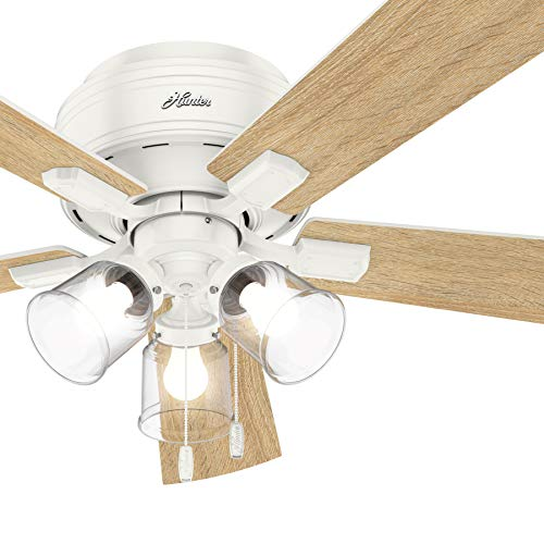 Hunter Fan 52 inch Casual Fresh White Finish Indoor Ceiling Fan with LED Lights (Renewed)
