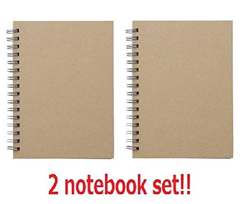 [2 set !!!] Muji Recyclingpapier Doppelring Notizbuch A6 Beige gesamt 160 Seiten aus Japan