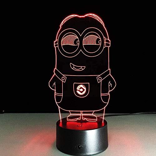 3D Illusionslampe LED Nachtlicht Neuheit Minions Touch Tischlampe Bunt für Kinder Baby Geschenk Geburtstagsfeier Schlafzimmer Home Decor-16 colors remote