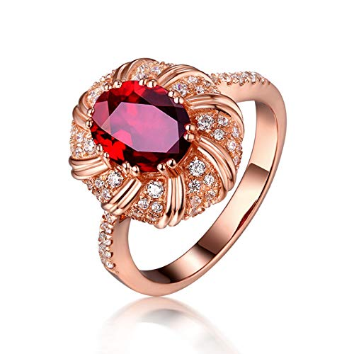 AueDsa Ring Red Rose Gold 18K Rose Gold Rings for Women Diamond Flower Ring with Oval Ruby 0.55ct Ring Size I 1/2