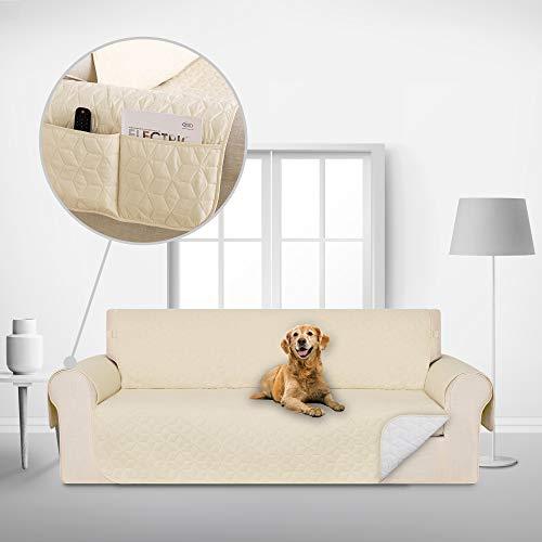Deconovo Copridivano 3 Posti Antiscivolo Universale con Tasche Fodera Divano Trapuntato Protegge Il Mobile per Cani/Gatti Letto Beige