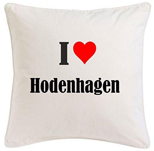 Kissenbezug I Love Hodenhagen 40cmx40cm aus Mikrofaser geschmackvolle Dekoration für jedes Wohnzimmer oder Schlafzimmer in Weiß mit Reißverschluss
