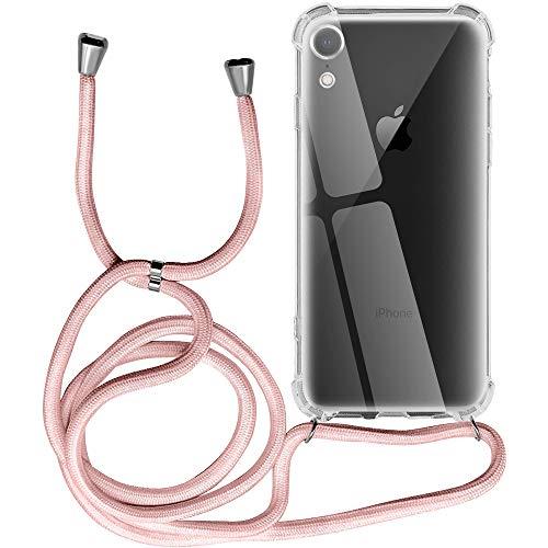 Funda para iPhone XR, Transparente Silicona Carcasa con Cuerda para Apple iPhone XR, Suave TPU Case con Cuerda para Colgar Ajustable Anti Golpes Protector Case - Rosa de Oro