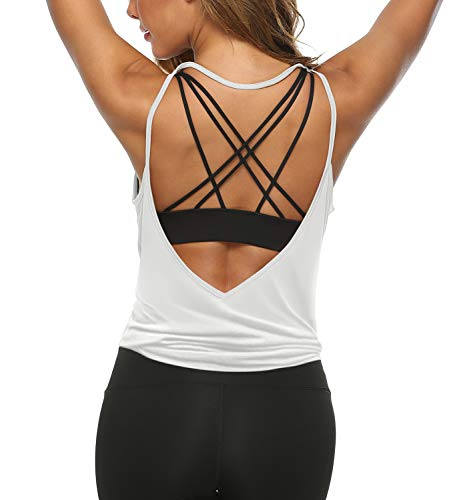 LEXISLOVE Womens Summer Workout Tank Tops Sexy Open Back Backless Yoga Shirt Activewear Workout Clothes Running Sports Gym Loose Cute V Neck Sleeveless Beach Tops White S
