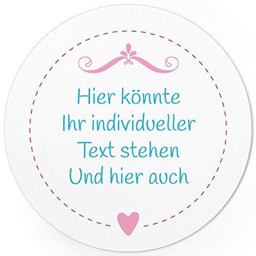 24 PERSONALISIERTE runde Etiketten mit Motiv: Rosa Herzchen Edel - Ihre Aufkleber online selbst gestaltet, ganz individuell