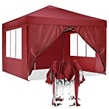 HOTEEL Carpa Plegable 3x3m Carpas y Cenadores Impermeable Cenador de Jardín Protección UV con 4...