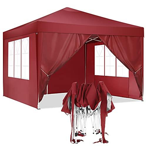 HOTEEL Carpa Plegable 3x3m Carpas y Cenadores Impermeable Cenador de Jardín Protección UV con 4 Paneles Laterales para Eventos al Aire Libre, 3x3m , Rojo