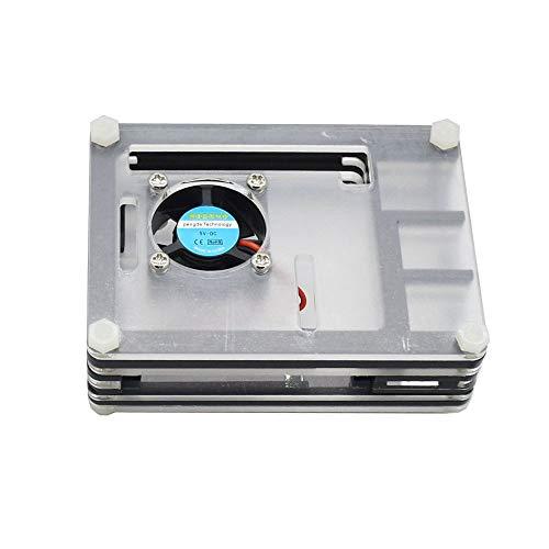 Mogzank para Raspberry Pi Estuche de AcríLico con Ventilador de RefrigeracióN Disipadores de Calor de Negro para Raspberry Pi 4