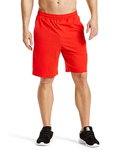 "Mission Men's VaporActive Element 9"" Basketball Shorts, Fiery Red/Iron Gate, Large"