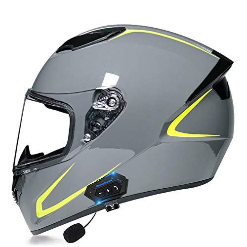 MOMOJA Casco Integral De Motocicleta Bluetooth, con Altavoz De Visera Solar, Casco Integral Aprobado por ECE para Respuesta Automática para Ciclismo Al Aire Libre D,S(55-56cm)