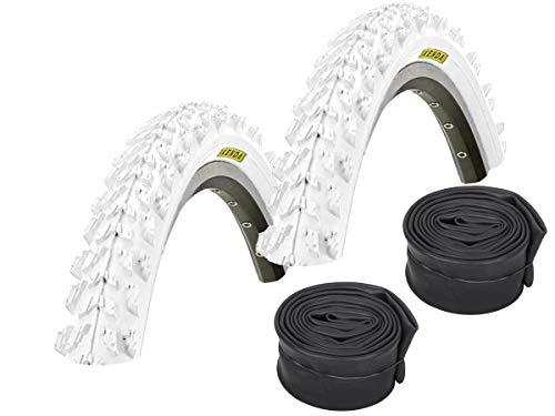 KENDA Set: 2 x K829 Weiss farbige Fahrrad MTB Reifen 26x1.95 + SCHLÄUCHE Autoventil