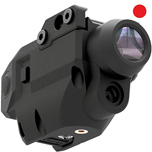 Laspur Tactical Sub Compact Rail Mount Laser Sight with Flashlight Light Integrated Combo, Built-in USB Rechargeable Battery Accessory Remaining Battery Display (Red Laser)