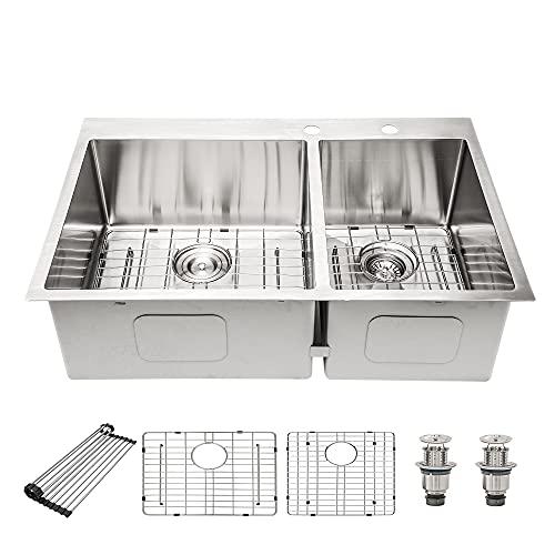 Drop In Kitchen Sink Double Bowl 60/40 Split 16 Gauge Stainless Steel Kitchen Sink 33 Inch Sink for Kitchen Topmount