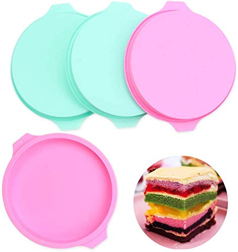 4PCS Layer Cake Mold Round Silicone Cake Molds 8 inch Rainbow Cake Pans Pizza Pastry Baking Pan Silicone Bakeware Set of 4