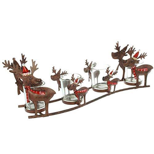 SIDCO Kerzenhalter Rentier Windlicht Winter 4 Kerzenständer Metall Hirsch Tischdeko