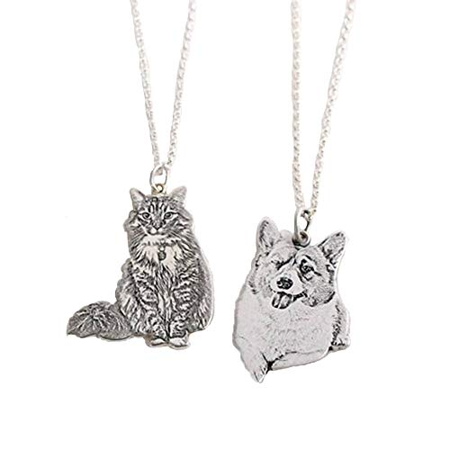 Collana con foto personalizzata, placcata in argento, con immagine e testo inciso, regalo per gli amanti degli animali domestici