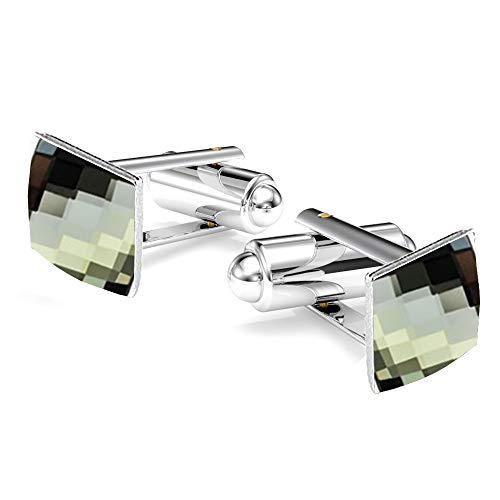 *Beforya Paris* CHESSBOARD - 7 FARBEN - Silber 925 Rhodiniert Elegante Manschettenknöpfe Silber 925 Herren Sterling Swarovski Elements Manschettennadeln (Black Diamond)