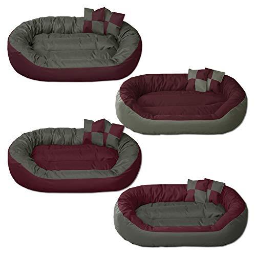 BedDog® Hundebett Sunny 4in1, großes Hundekörbchen aus Cordura, waschbares Hundebett mit Rand, Hundekissen oval-rund, für drinnen und draußen, XL, Cherry-Rock, Bordeaux-grau