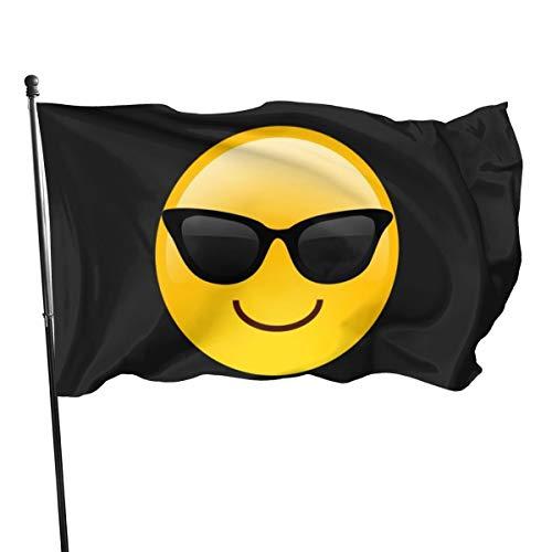 Emoji-Flagge mit lächelndem Gesicht mit Sonnenbrille, 91 x 152 cm