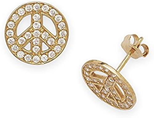 14 kt GelbGold, CZ, Peace Sign-Post Fancy Ohrringe JewelryWeb Ma  10 x 10 mm