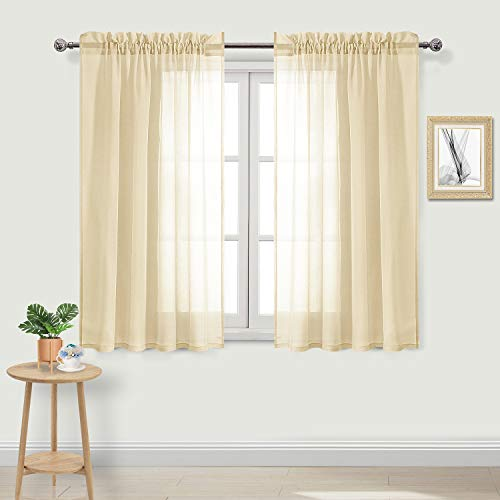 DWCN Beige Sheer Curtains Semi Transparent Voile Rod Pocket Curtains for Bedroom and Living Room, 52 x 54 inches Long, Set of 2 Panels