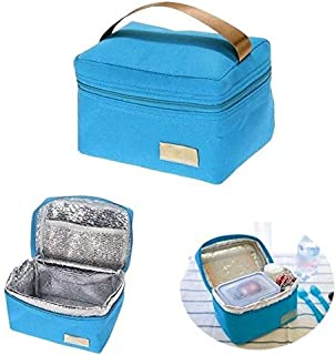 BEESCLOVER New Travel Oxford Tinfoil Insulated Cooler Thermal Picnic Lunch Bag Waterproof Tote Lunch Bag for Kids Adult LS Blue One Size