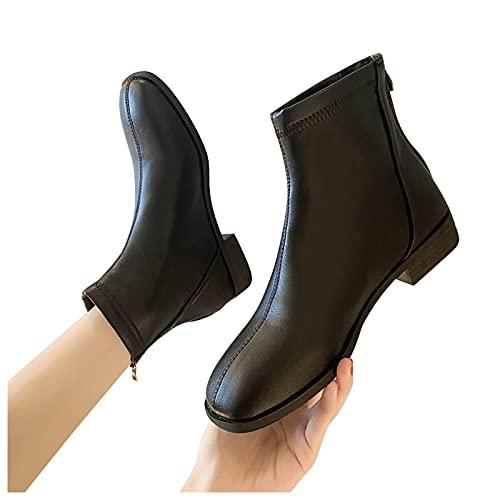 Dasongff Botte Femme Plate Pas Cher Bottines Femme Talon Carré Casual Bottes Courtes Confort Bottines de Cheville en Faux Cuir Imperméables Boots Chelsea Antiderapantes Automne Hiver