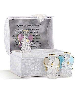 Guardian Crystal Angel Gift Worry Ornament In Box With Message Inside Lid