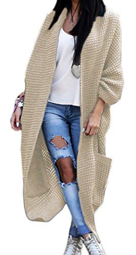 Mikos Damen-Strickjacke-Pullover-Pulli-Jacke-Oversize-Boho-S-M-L-XL (629) Beige