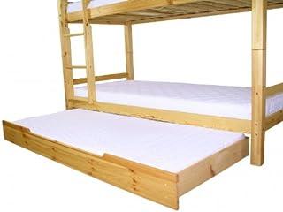Erst-Holz Tiroir lit pour Les Lits superposès, pin Naturel avec sommier à Lattes et Matelas 90.10-S7M