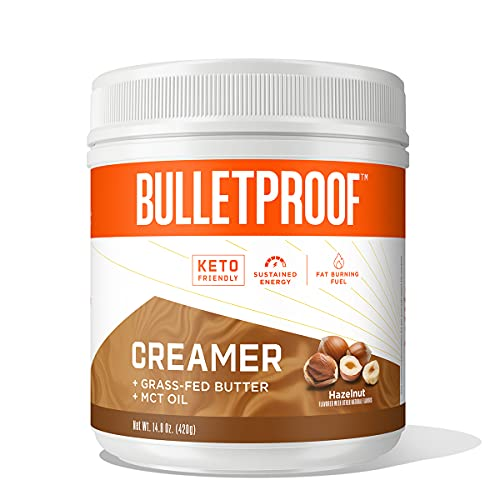Keto Creamer, Hazelnut, 2g Net Carbs, 10g Quality Fats from Powdered MCT Oil, Grass Fed Butter, 0g Sugar, Natural Flavor, Bulletproof Coffee Creamer for Sustained Energy