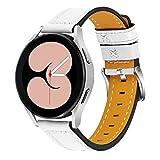 Galaxy Watch 4 Cinturino Classic LTE 46mm, LinZiart Cinturino di Ricambio in Vera Pelle da 5,5''- 8,0 Pollici per Galaxy Watch 4 40mm 44mm/ Watch 4 Classic 42mm 46mm (Bianco)