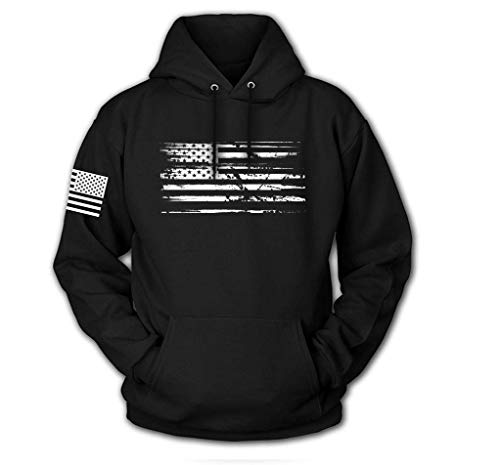 Tactical Pro Supply USA Sweatshirt Hoodie- American Flag Patriotic Jacket Sweater for Men or Women - Black, White Flag (X-Large)