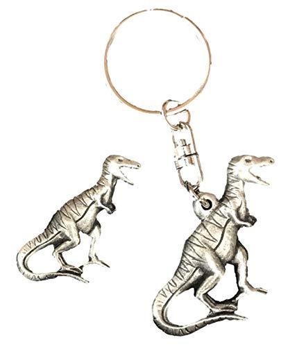 Smartbadge Dinosaure T-Rex Clé Bague et Broche Badge Coffret Cadeau Ensemble Artisanal en Étain + 59mm Bouton Badge