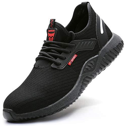 UCAYALI Zapatos Seguridad Mujer Calzado de Trabajo Transpirable Zapatos de Protección Antideslizante Anti Pinchazo Zapatos de Industria y Construcción Negro Oscuro Gr.38