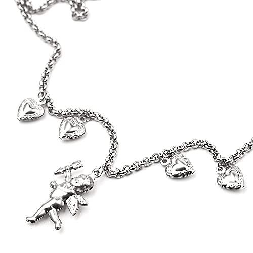 Cupido CHERUB DTY collar de trabajo hecho a mano con flecos amor romance Color plata mujeres encanto joyería boda amor confesión regalo-XL0316