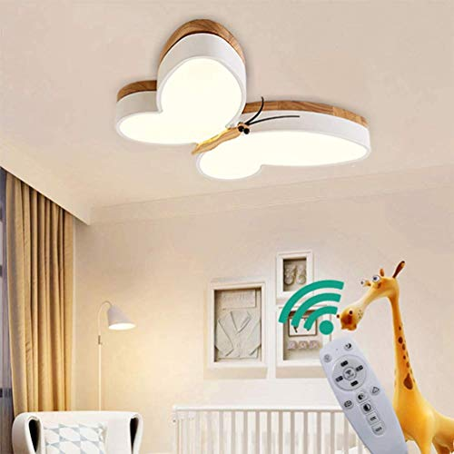YSNJG LED plafondlamp 40W, houten vlinder ontwerp plafond licht acryl schaduw kroonluchter kinderen kinderkamer lampen [Energie Klasse A ++]