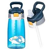 Newdora Borraccia Bambini-480ml-Borraccia con Cannuccia per Bambini-Mini Bottiglia Acqua senza BPA-Bottiglia A Prova di Perdite-Borraccia Termica in plastica-Borraccia con Cannuccia Portabile - Blu